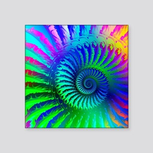 """Psychedelic Rainbow Pattern Square Sticker 3"""" x 3"""""""