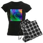 Psychedelic Rainbow Pattern Women's Dark Pajamas
