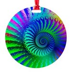 Psychedelic Rainbow Pattern Round Ornament