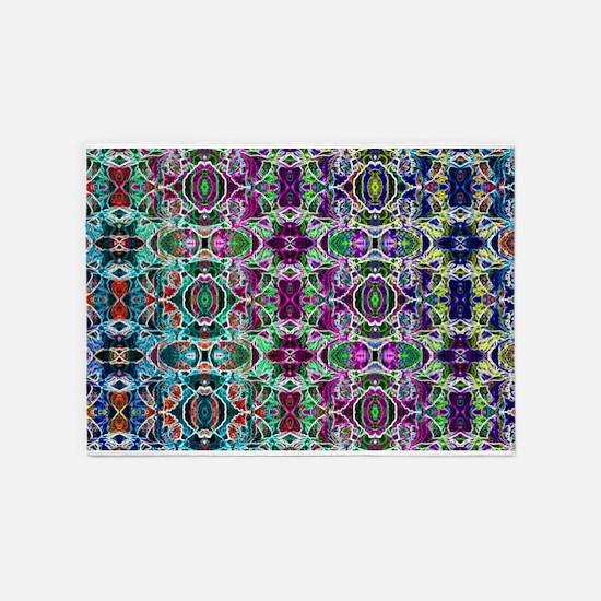 Rainbow Fractal Art 5'x7'Area Rug