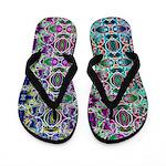 Rainbow Fractal Art Flip Flops