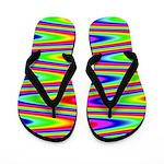 Psychedelic Rainbow Zig Zag Pattern Flip Flops