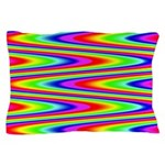 Psychedelic Rainbow Zig Zag Pattern Pillow Case