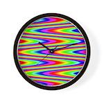 Psychedelic Rainbow Zig Zag Pattern Wall Clock