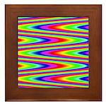Psychedelic Rainbow Zig Zag Pattern Framed Tile