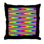 Psychedelic Rainbow Zig Zag Pattern Throw Pillow
