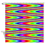 Psychedelic Rainbow Zig Zag Pattern Shower Curtain