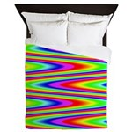 Psychedelic Rainbow Zig Zag Pattern Queen Duvet