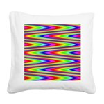Psychedelic Rainbow Zig Zag Pattern Square Canvas