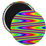 Psychedelic Rainbow Zig Zag Pattern Magnet