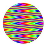 Psychedelic Rainbow Zig Zag Pattern Round Car Magn