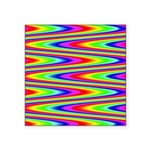 Psychedelic Rainbow Zig Zag Pattern Square Sticker