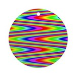 Psychedelic Rainbow Zig Zag Ornament (Round)