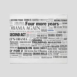 Obama Win 2012 Headline Collage Throw Blanket