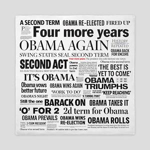 Obama Re-Elected Headline Queen Duvet