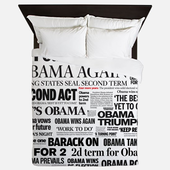 Obama Re-Elected Headline Queen Duvet