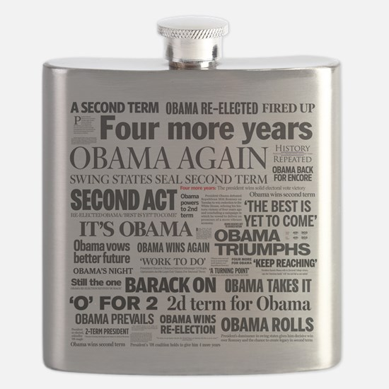 Obama Re-Elected Headline Flask
