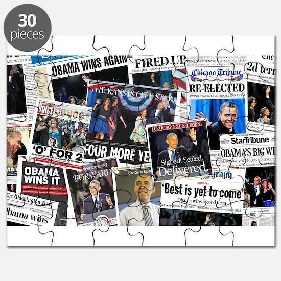 Obama Wins 2012 Newspaper Puzzle