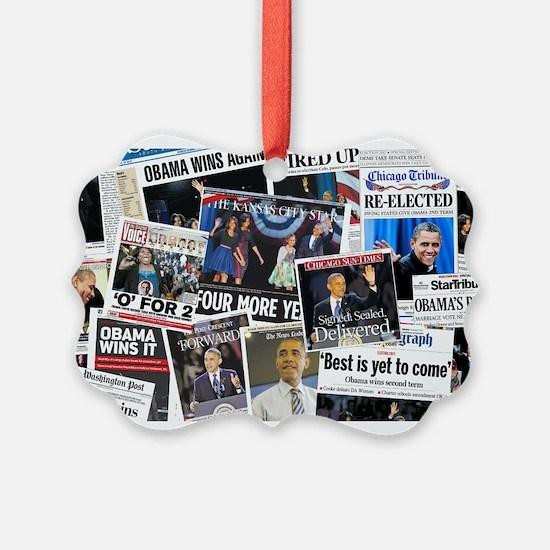 Obama Wins 2012 Newspaper Ornament