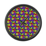 Rainbow Smiley Face Pattern Large Wall Clock