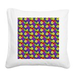 Rainbow Smiley Face Pattern Square Canvas Pillow