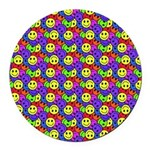 Rainbow Smiley Face Pattern Round Car Magnet