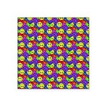Rainbow Smiley Face Pattern Square Sticker 3
