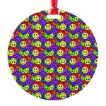 Rainbow Smiley Face Pattern Round Ornament