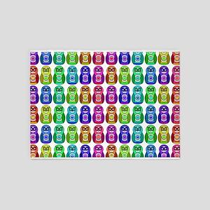 Rainbow Matryoshka Owl Pattern 5'x7'Area Rug