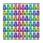 Rainbow Matryoshka Owl Pattern Tile Coaster