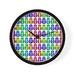 Rainbow Matryoshka Owl Pattern Wall Clock