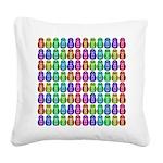 Rainbow Matryoshka Owl Pattern Square Canvas Pillo
