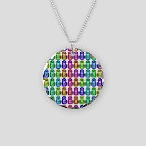 Rainbow Matryoshka Owl Necklace Circle Charm