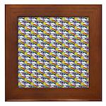 Kawaii Smiley Rainbow Pattern Framed Tile