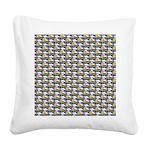 Kawaii Smiley Rainbow Pattern Square Canvas Pillow