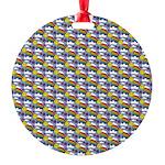 Kawaii Smiley Rainbow Pattern Round Ornament