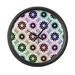 Rainbow Alien Eye Fractal Large Wall Clock