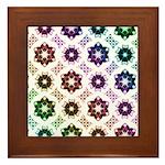 Rainbow Alien Eye Fractal Art Pattern Framed Tile