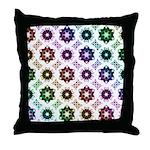 Rainbow Alien Eye Fractal Art Pattern Throw Pillow