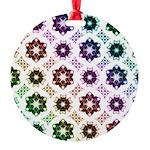 Rainbow Alien Eye Fractal Round Ornament