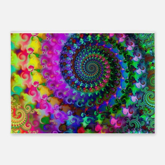 Psychedelic Rainbow Fractal Pattern 5'x7'Area Rug