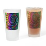 Psychedelic Rainbow Fractal Pattern Drinking Glass