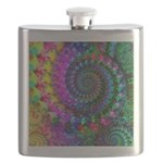 Psychedelic Rainbow Fractal Pattern Flask