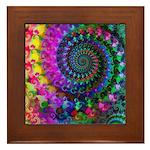 Psychedelic Rainbow Fractal Pattern Framed Tile
