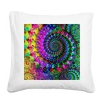 Psychedelic Rainbow Fractal Square Canvas Pillow