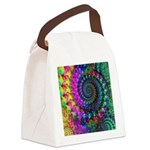 Psychedelic Rainbow Fractal Canvas Lunch Bag