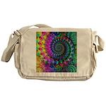 Psychedelic Rainbow Fractal Pattern Messenger Bag