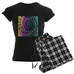 Psychedelic Rainbow Fractal Women's Dark Pajamas