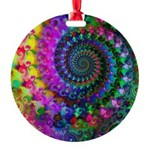 Psychedelic Rainbow Fractal Round Ornament