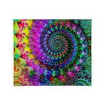 Psychedelic Rainbow Fractal Throw Blanket